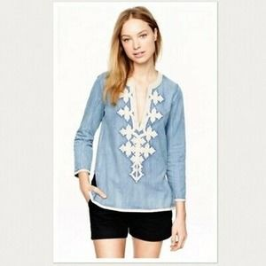 J Crew Chambray Top Size 2